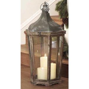 Wood and Galvanized Lanterns, Tall