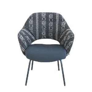 ... Black Mid Century Mod Mudcloth Chair