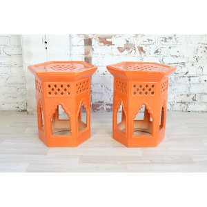 Orange Moroccan Side Table