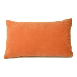 Orange Velvet Lumbar Pillow