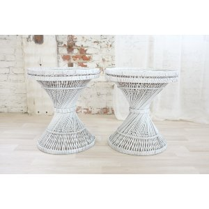 White Spun Wicker Side Tables