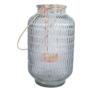 Smokey Glass and Copper Votive Holder