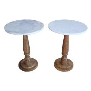 Tall Wood and Marble Side Tables