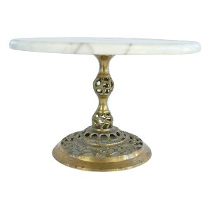 Large Brass and Marble Cake Ornamental Stand