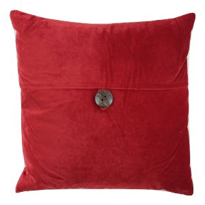 Deep Red Button Closed Pillow