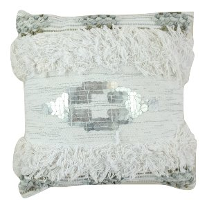 Ivory and Blue Moroccan Pillow with Silver Detail