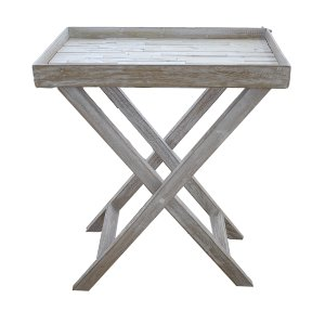 X cross white washed side tables
