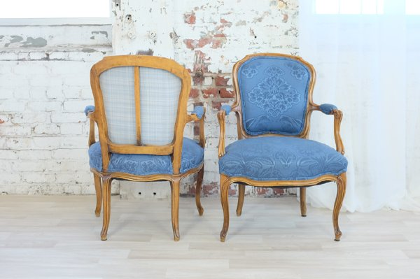 Petite French Blue Armchairs