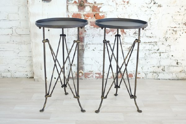 Bronze Metal Accordion Side Table