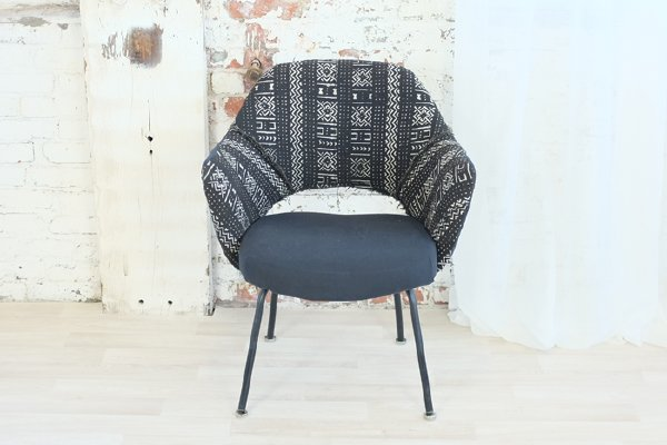 Black Mid Century Mod Mudcloth Chair