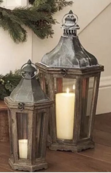 Wood and Galvanized Lanterns, Med