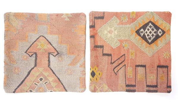 Kilim Pillows: Pink / Green