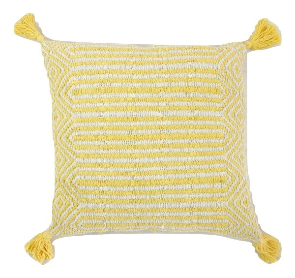 Yellow Geometric Pillow with Tassels