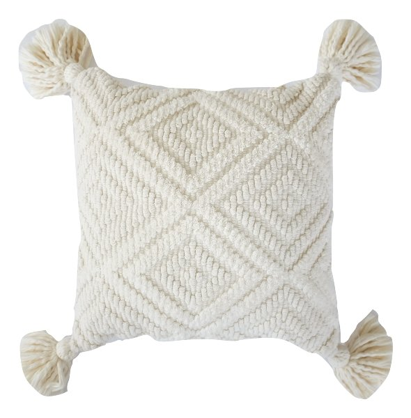 White Geometric Pillow with Tassels