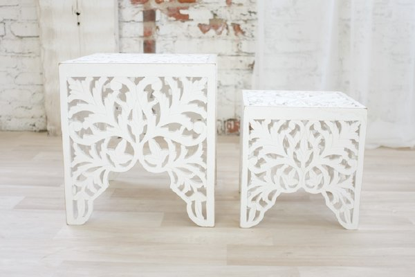 White Boho Nesting Tables