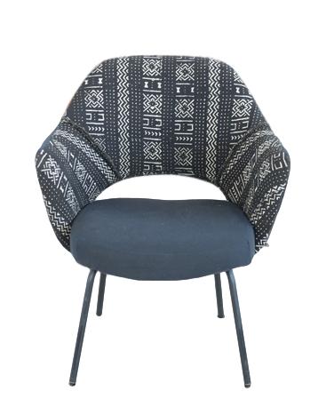 Black Mid Century Mod Mudcloth Chair