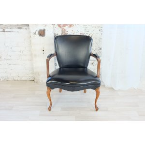 Hank Black Leather Arm Chair