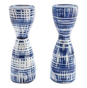 Blue Indigo Pillar Candle Holders