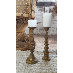 Assorted Brass Candlesticks / Candles