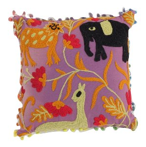 Indian Jungle Pillow Pom Pom fringe