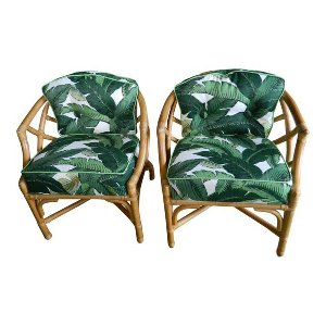 Franco Palm Print Bamboo Chairs