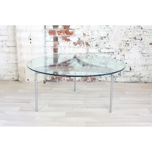 Chrome and Glass Round Coffee Table