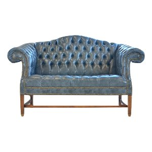 Blake Tufted Leather Settee