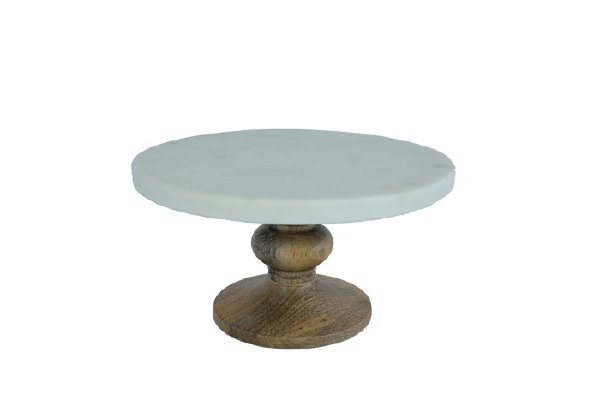 Small Marble and Wood Cake Stand