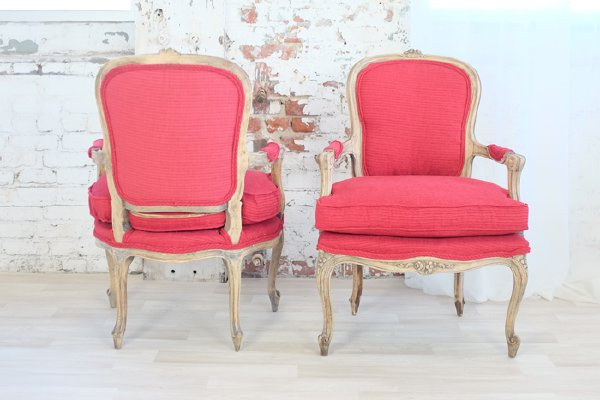 Red Armchairs with Bleached Wood