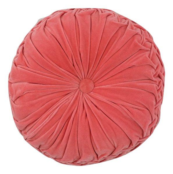 Coral Velvet Tufted Round