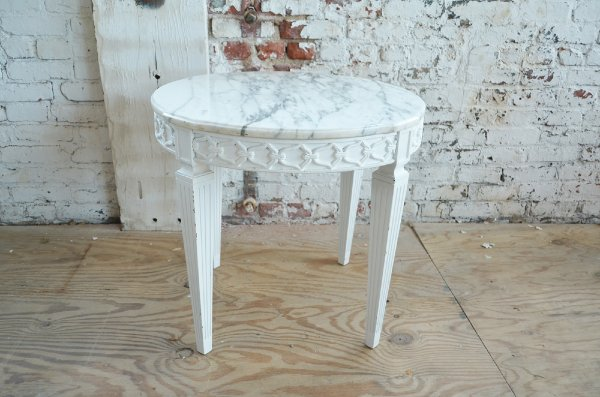 White Wood and Marble Side Table