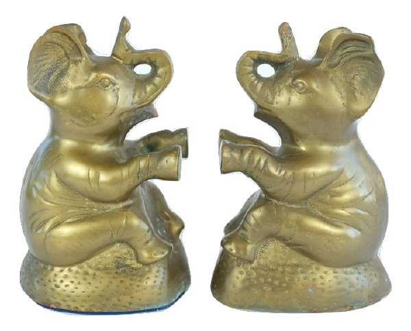 Brass Elephant Book Ends