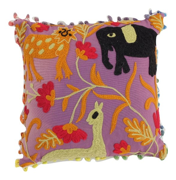 Indian Jungle Pillow Pom Pom fringe