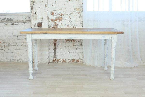 Reclaimed Sweetheart Table with spun legs