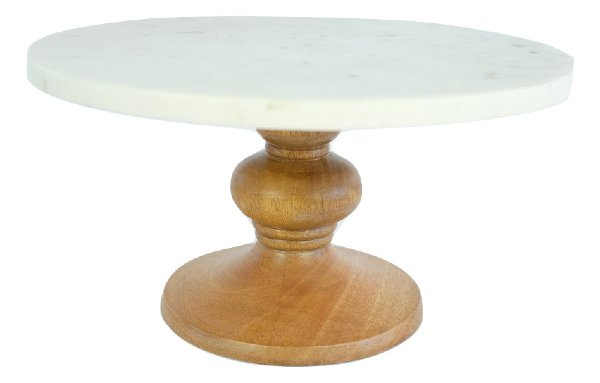 Large Marble and Wood Cake Stand