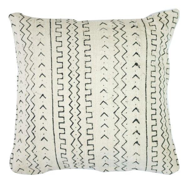 White Mudcloth Pillow