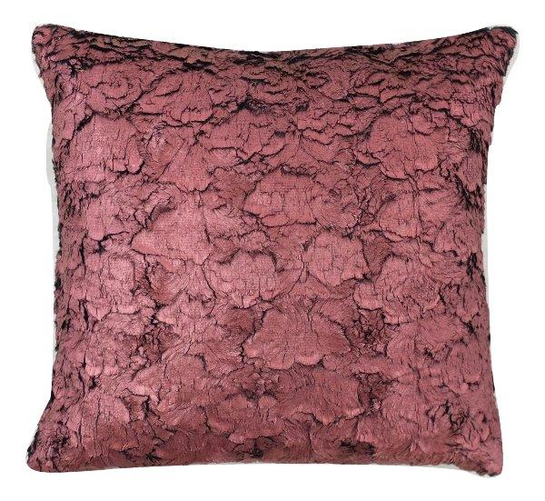 Deep Red Metallic Textured Pillow