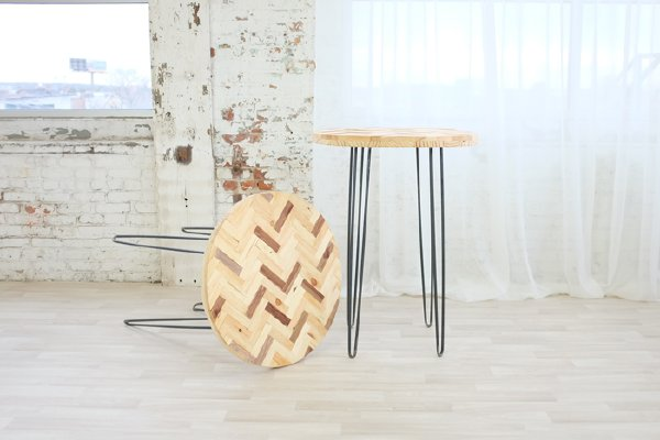 Herringbone Hairpin Cocktail Tables