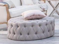 Taupe tufted ottoman