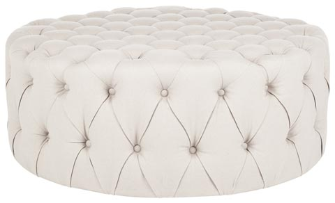 Ivory Tufted Ottoman