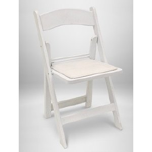 White Resin Folding Chair w/Pad