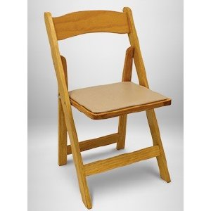Natural Wood Folding Chair w/Pad
