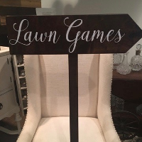 Dark Wood Lawn Games Arrow Sign
