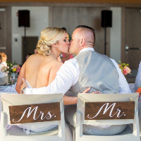 Dark Wood Mr & Mrs Chair Sign Set