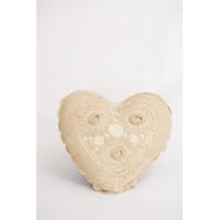 Beige Crocheted Heart Pillow