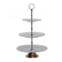 Three Tiered Glass and Silver Serving Stand