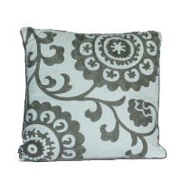 Gray and White Floral Print Pillow