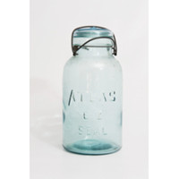 Hinged Lid Aqua Mason Jars - Quart Sized