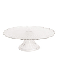 Large Etched Clear Glass Cake Stand