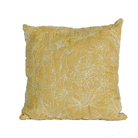 Mustard and White Floral Print Quilted Pillow